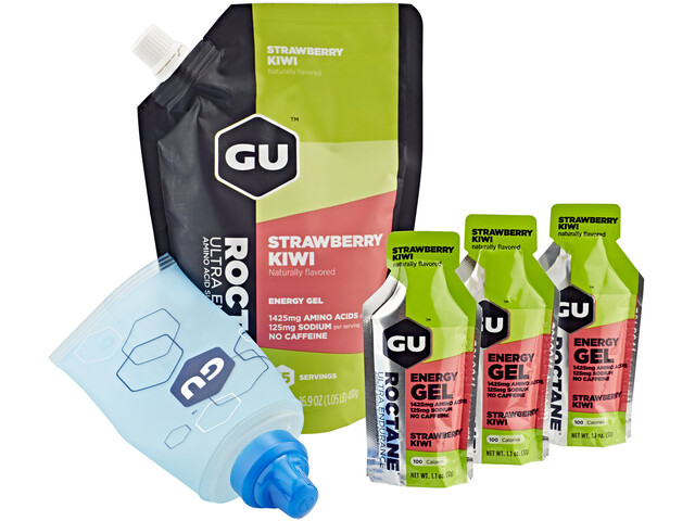 GU Energy Roctane Gel Kombipaket Strawberry Kiwi Vorratsbeutel 480g + 3x32g Gels + Flask